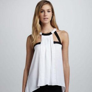 "New BCBG ""Irene"" White Cut Out Cocktail Party Top"